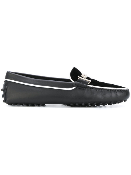 TOD'S women loafers leather black velvet shoes