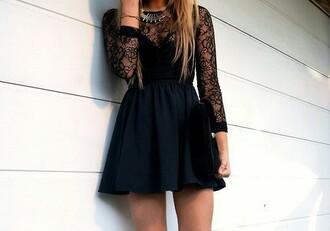 dress black dress lace fashion style girly