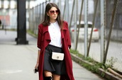 rana demir,blogger,red coat,burgundy,red sunglasses,white shirt,miu miu,blouse