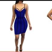 dress,blue spaghetti strap bandage   dress