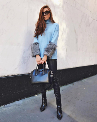 sweater tumblr blue sweater knit knitwear knitted sweater pants black pants leather pants bag black bag boots black boots sunglasses
