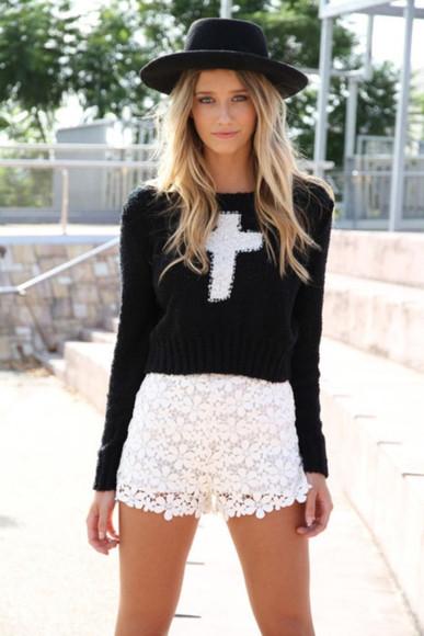 cross white winter sweater sweater hat black cropped sweater
