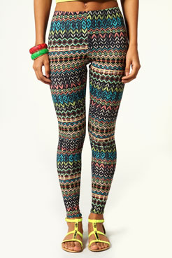 Preeya aztec print jersey leggings at boohoo.com