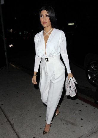 blouse bodysuit plunge v neck white all black everything pants pumps kourtney kardashian shoes