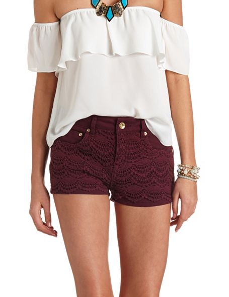 High-Waisted Crochet Colored Denim Shorts: Charlotte Russe