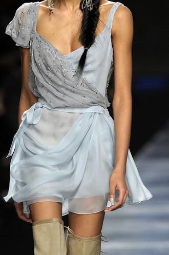 dress greek blue dress sky blue silk day dress boho runway
