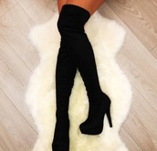 shoes,black,heels,over the knee boots