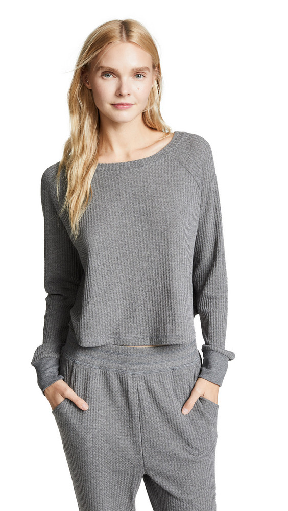 Honeydew Intimates Sneak Peek Waffle Knit Crop Sweatshirt in grey