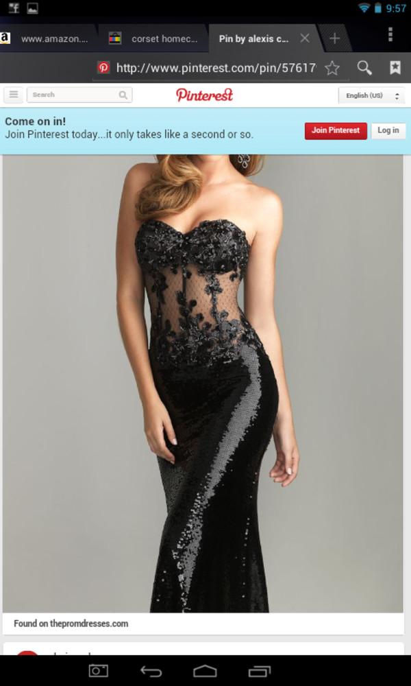 black corset see through dress black sequin dress strapless