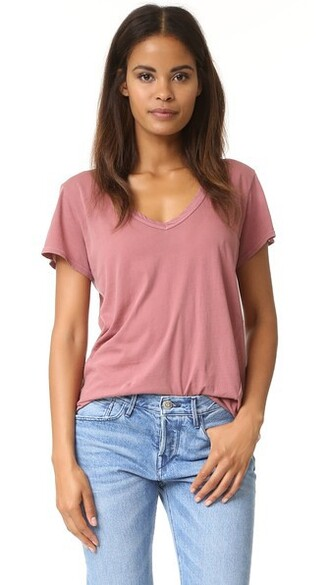 classic v neck rustic red top