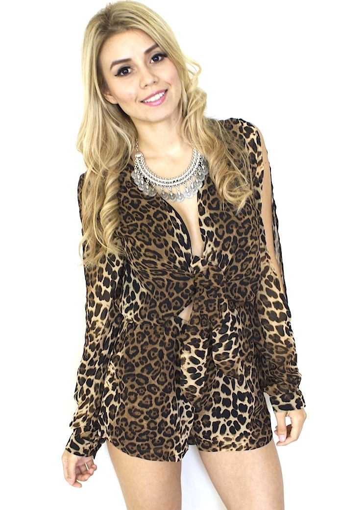 Leopard Print Front Tie Long Sleeve Romper