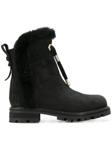 Twin-Set fur women ankle boots leather suede black shoes