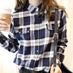 Online Shop 2014 Spring Preppy Style Blue Plaid Shirt Clothing Women Cardigan Women's Top Free Shipping Aliexpress Mobile