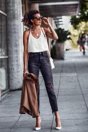 fashionedchic,blogger,tank top,jacket,shoes,pumps,high heel pumps,blazer