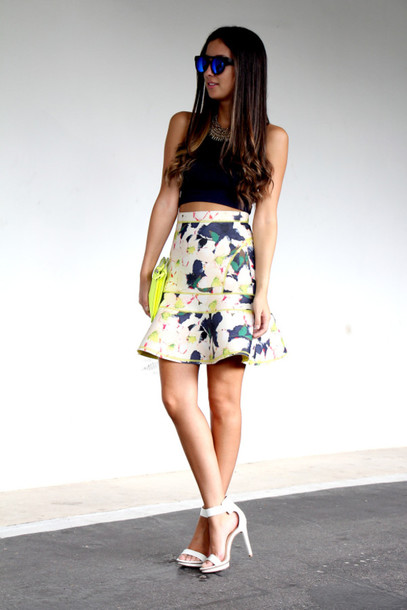 the material girl top skirt jewels shoes sunglasses bag
