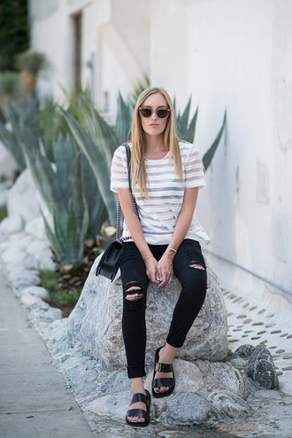 eat sleep wear blogger top jeans shoes bag ripped jeans