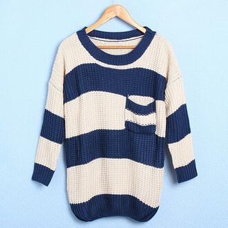 sweater blue white sweater pocket warm winter