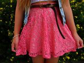 shirt,pink,belt,coat,skirt,lace,high waisted,cute,shorts,skirt pink lace short love this