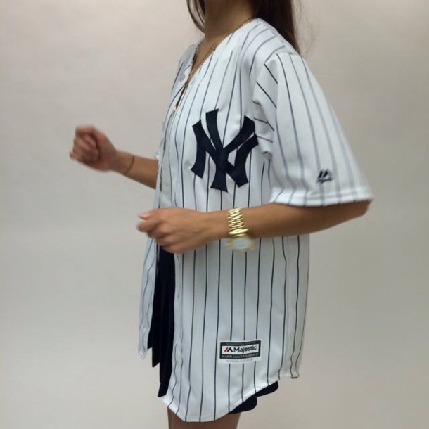 Shirt new york city white black blouse tumblr for Baseball button up t shirt dress
