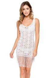 dress,crochet nylon dress,cover up,luli fama,white