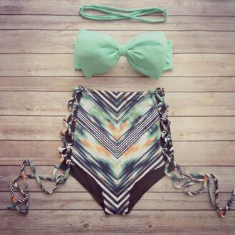 swimwear bikini beach summer high waisted bow green cute girly zaful