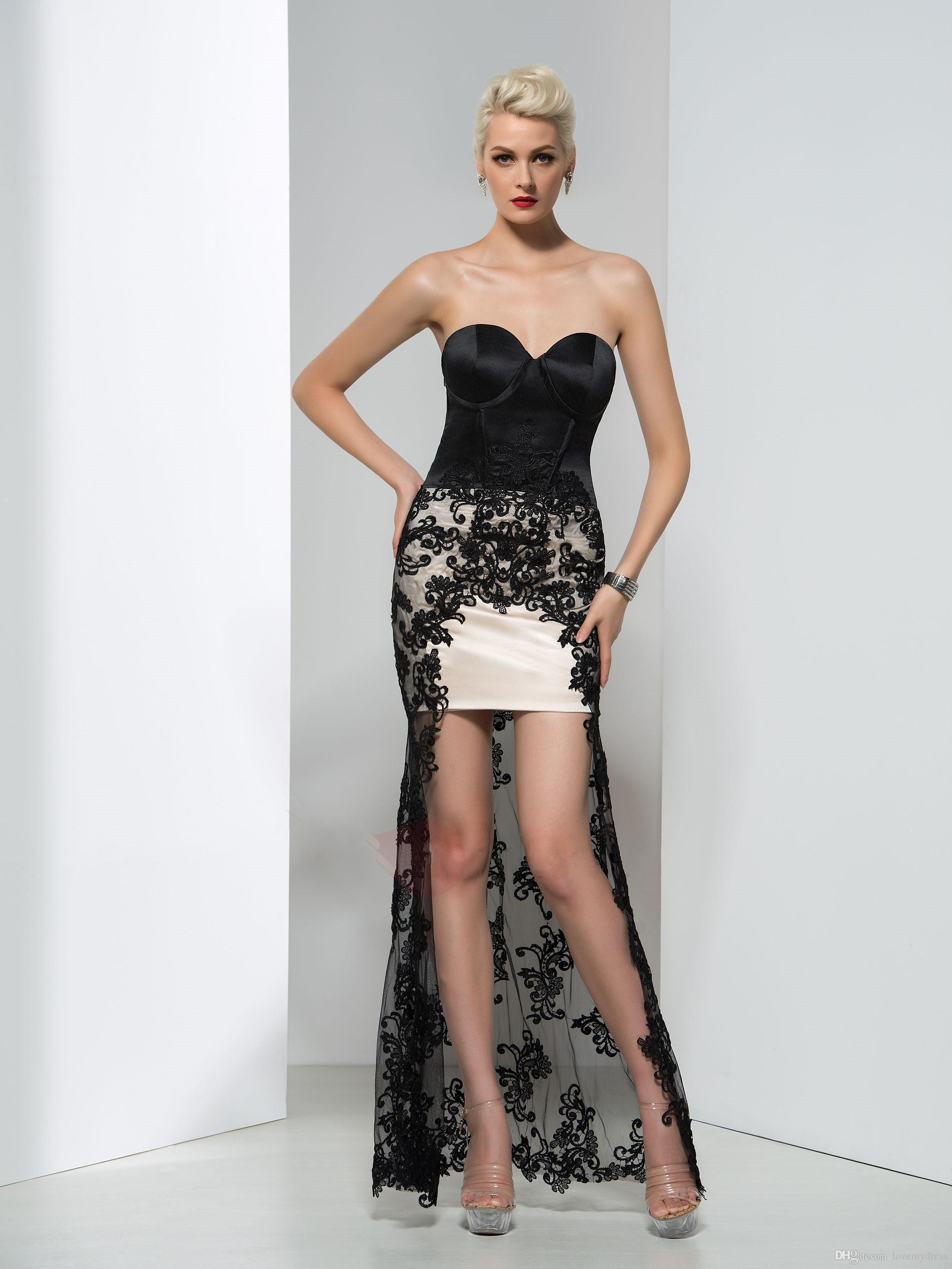 fdd3570cf260 High Low Black Lace Prom Dress Long Sweetheart Neck Sleeveless Custom Made  Lace Evening Gowns Cheap ...