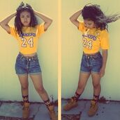 shorts,jeans,huf socks,timberlands,High waisted shorts,denim shorts,high waisted,lakers,shirt,t-shirt,huf,shoes,jewels,swag,badass,denim,jersey,yellow,streetwear,24,yellow shirt,belt,summer outfits,outfit,outfit idea,brown shoes,fashion