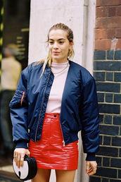 vanessa jackman,blogger,jacket,t-shirt,skirt,top,bomber jacket,red skirt,mini skirt,vinyl skirt,blue jacket,ribbed top,pink top,bag