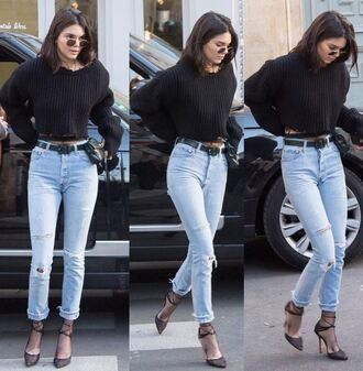 sweater jeans pumps streetstyle model off-duty cropped sweater kendall jenner fashion week fashion week 2017