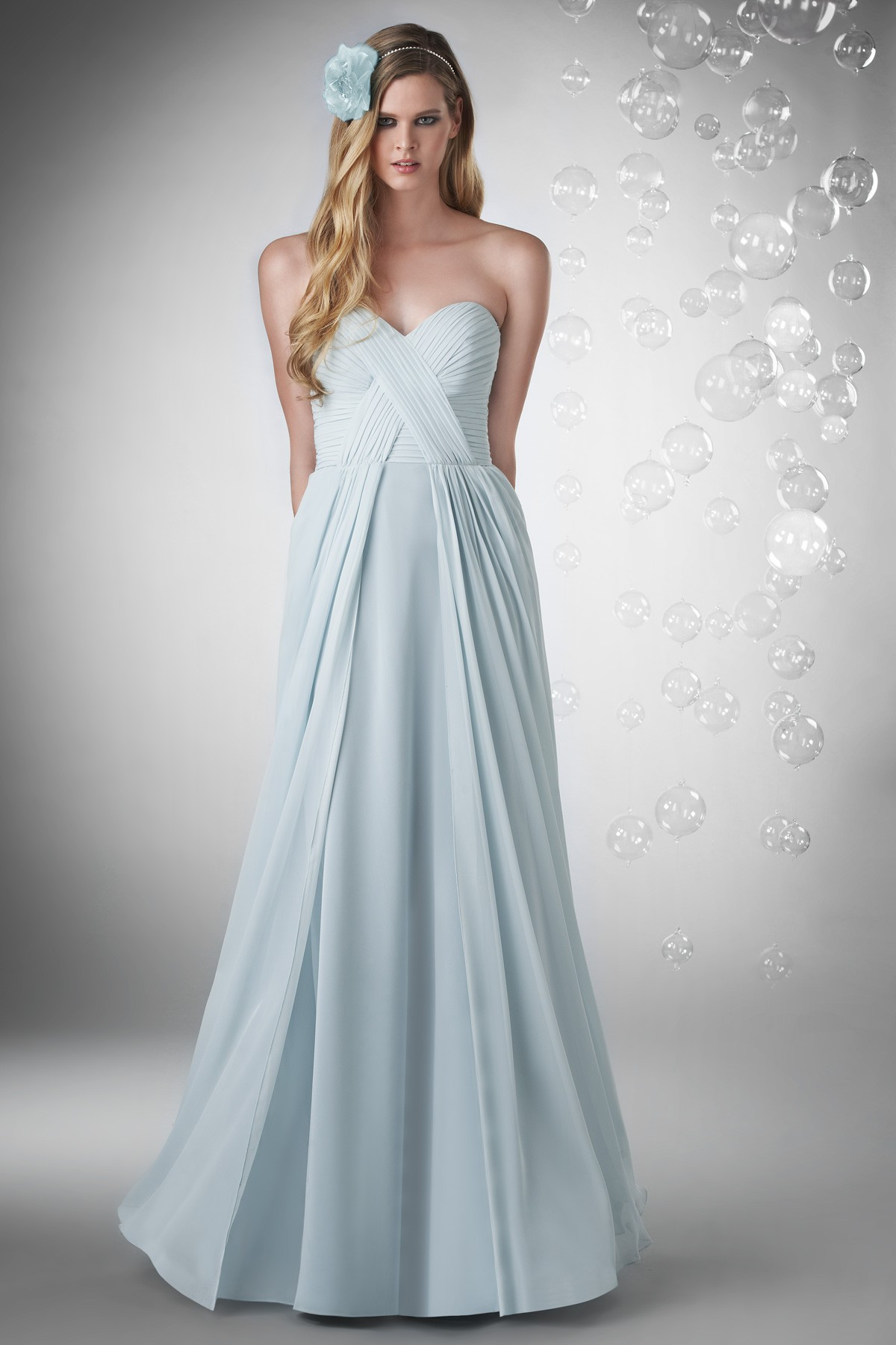 Sweetheart Floor Length Chiffon Blue A Line Bridesmaid Dress P1bj0056
