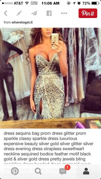 dress dress sequin glitter prom sparkle silver gold glitter