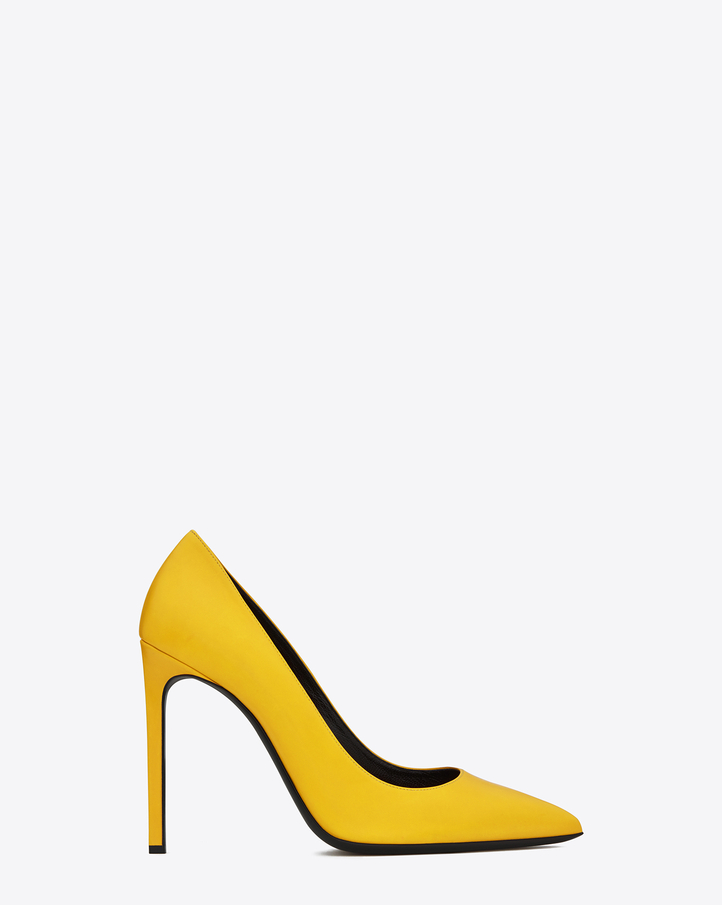 Saint Laurent Classic Paris 105 Escarpin Pump In Yellow Leather | ysl.com