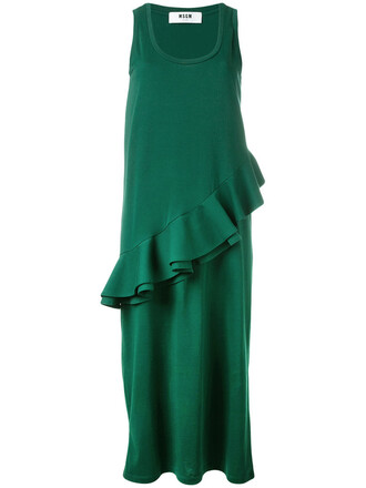 dress ruffle women cotton green