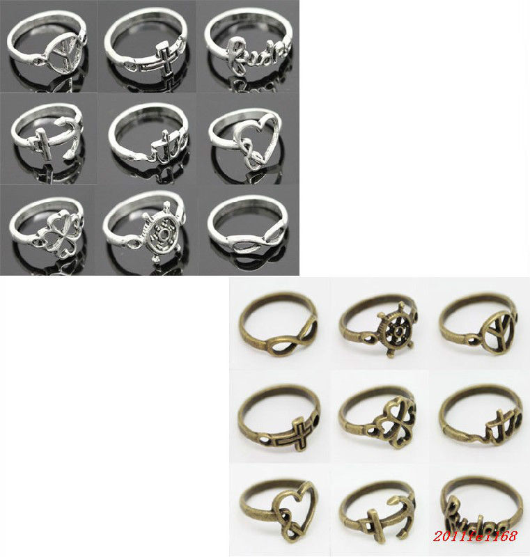 Wholesale New Fashion Alloy Vintage Very Nice 10 Style Ring 2 Color Choice | eBay