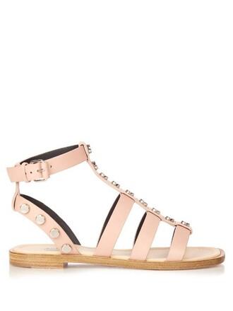 embellished sandals leather beige shoes