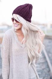 hat,oversized sweater,purple,sweater