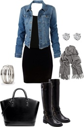 dress,jacket,black dress,denim jacket,black boots,grey scarf,cropped,fall outfits,outfit,style,fashion,shoes