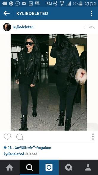 jacket kylie jenner leather jacket black grunge