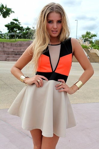 dress mesh colorblock skater dress cream dress bright neon