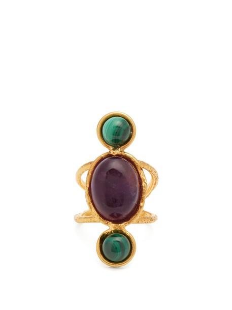 Sylvia Toledano ring gold purple jewels