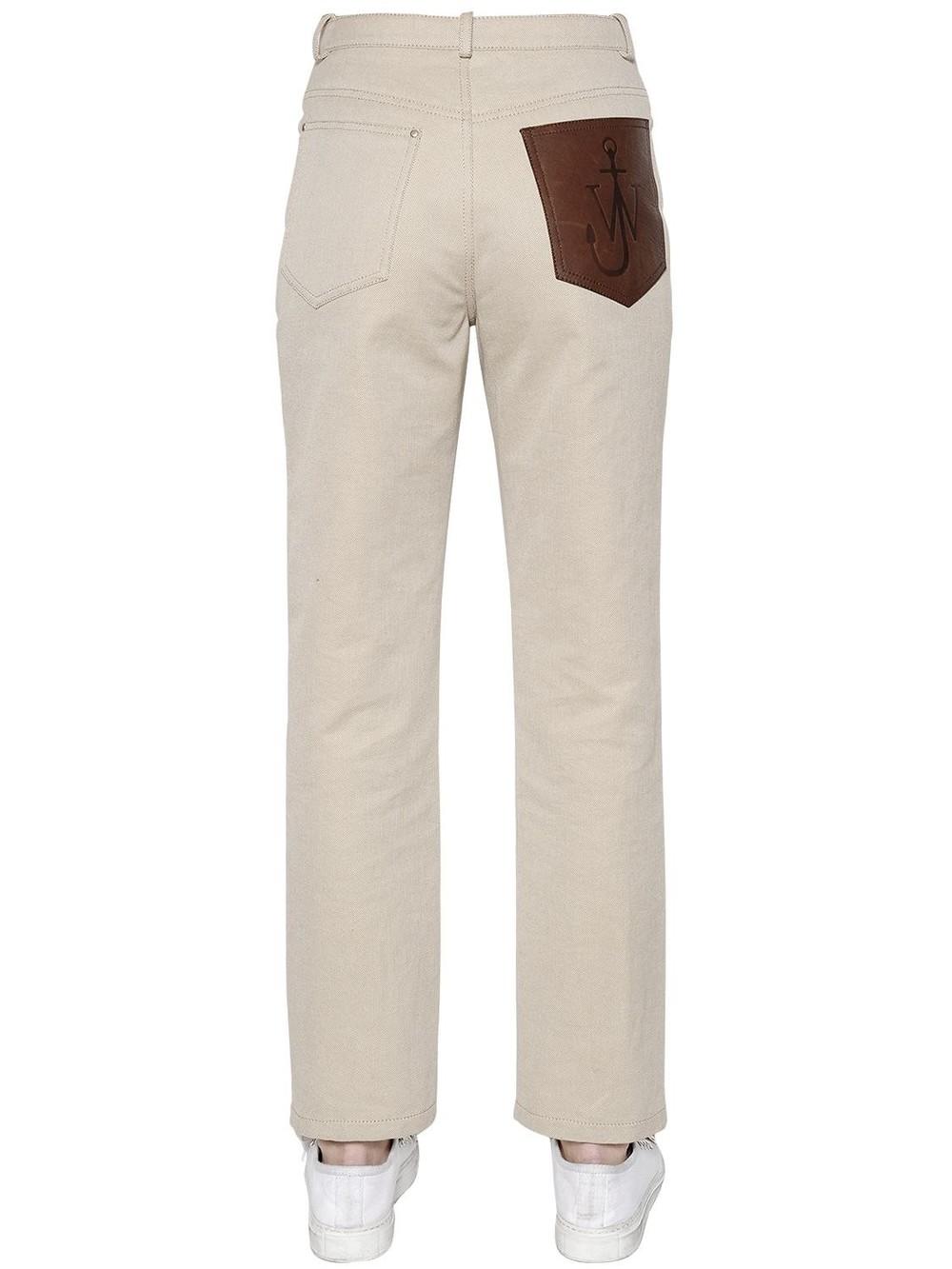 J.W.ANDERSON Cotton Denim Jeans W/ Leather Logo Patch in beige / beige