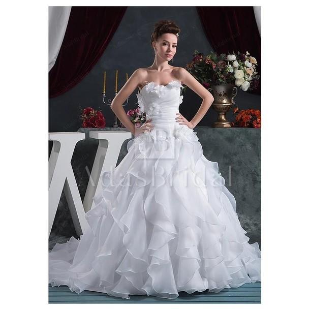 dress high-low dresses wedding dress sweetheart dress satin flowers