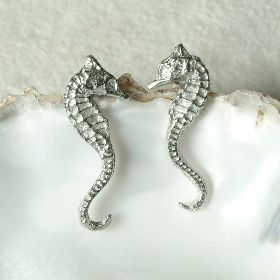 Seahorse stud earrings, UK made seahorse jewellery gifts by Glover and Smith