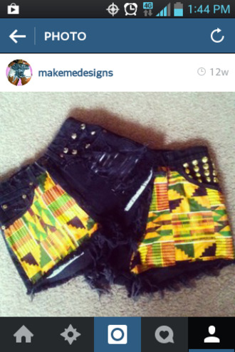 black shorts denim shorts tumblr denim fashion studs vintage summer outfits tribal pattern hot pants high waisted shorts cutoff shorts ripped shorts ripped jeans trendy ootd dope shit dope streetwear streetstyle edgy instagram vintage denim colorful african print black fashion