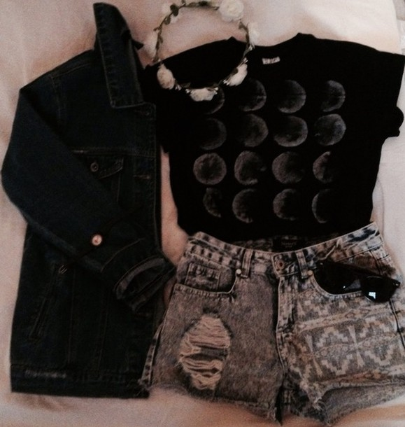 shirt moon shirt black t-shirt