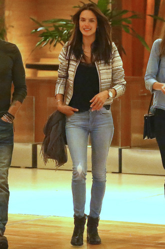 jacket alessandra ambrosio denim jeans