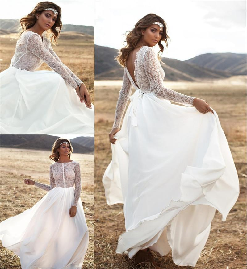 2016 Lurelly Beach Boho Wedding Dresses Vintage Lace Long Sleeves ...
