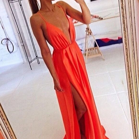dress orange dress maxi dress deep v neck dress side split maxi dress clevage summer dress