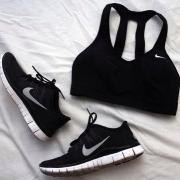 shoes black nike tank top nike sportswear