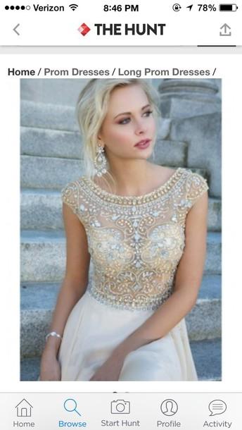 dress off-white dress champagne dress champagne prom dress sleeves prom dress prom gown prom dress embellished dress embroidered dress